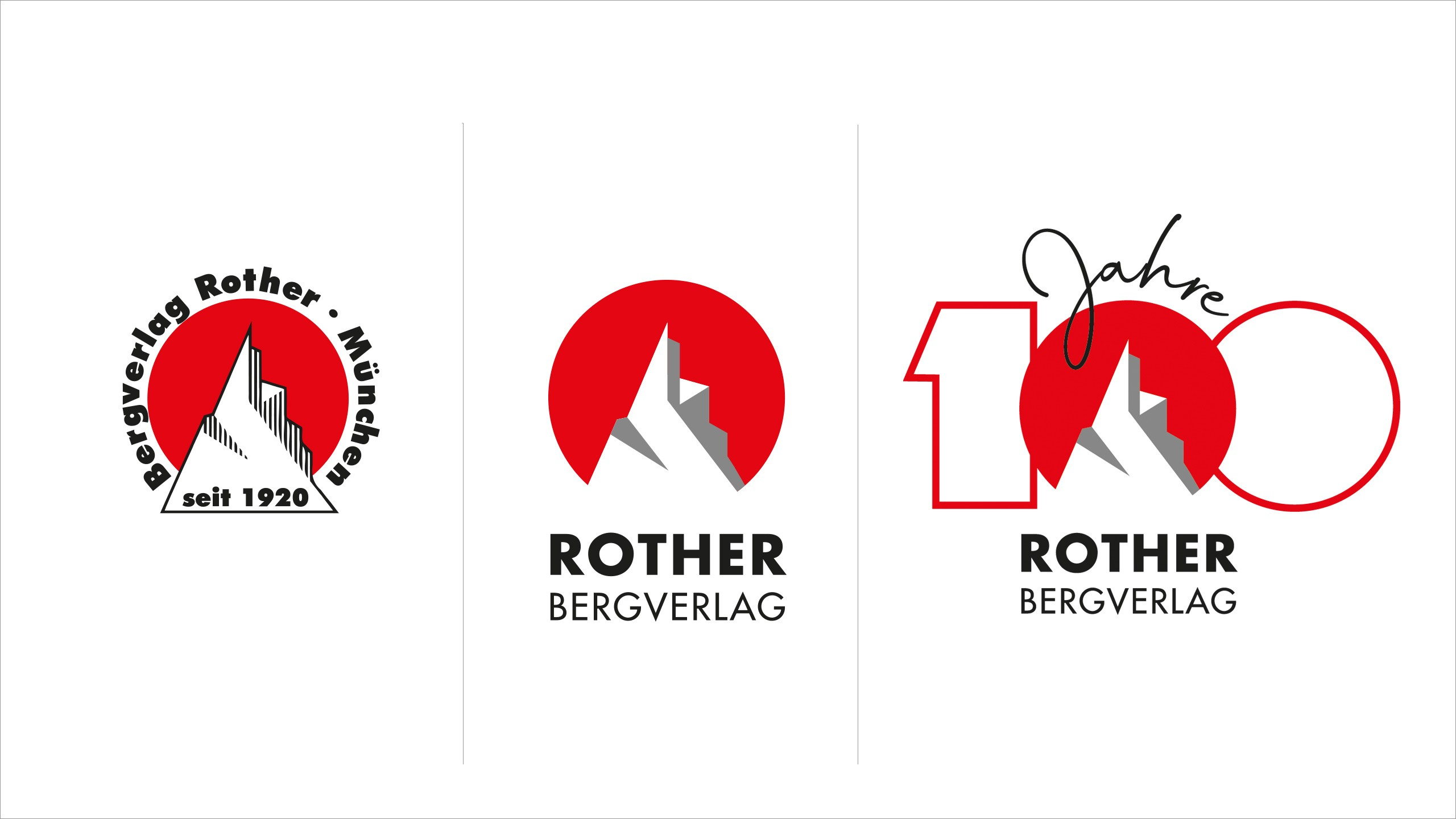 Markenlogo neu Rother Verlag + Jubiläumslogo 100 Jahre Rother Bergverlag